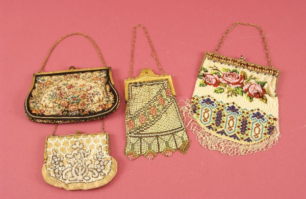 641: FOUR BEADWORK AND OTHER PURSES, Late 19th century/