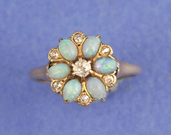 645: A VICTORIAN 14K YELLOW GOLD, OPAL AND DIAMOND RING