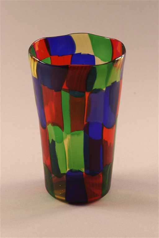 985 A Linea Valentina Murano Checkerboard Vase Signed