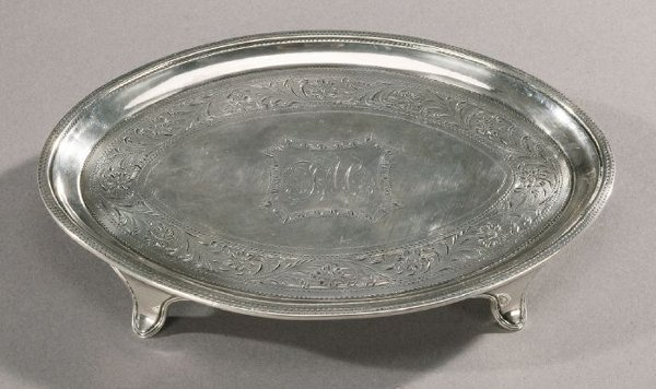 23: A GEORGE III SILVER TEAPOT STAND, London,