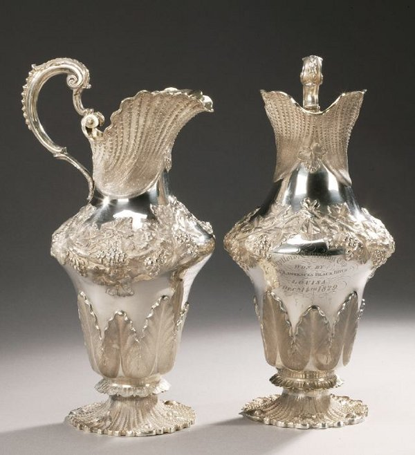 25: A PAIR OF GEORGE IV SILVER TROPHY EWERS,