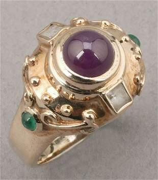 A 14K YELLOW GOLD, RUBY, EMERALD AND DIA