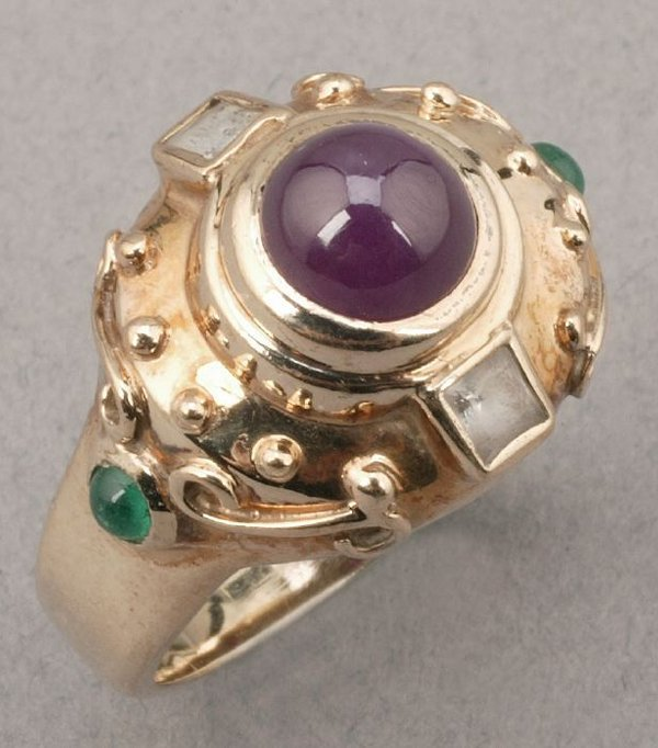 751: A 14K YELLOW GOLD, RUBY, EMERALD AND DIA