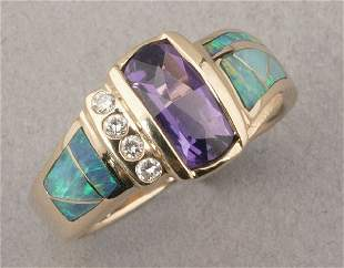 A 14K YELLOW GOLD, AMETHYST, OPAL AND DI