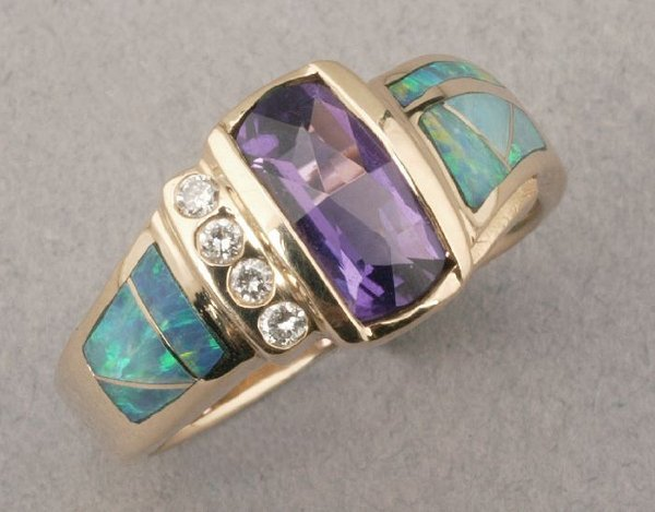 753: A 14K YELLOW GOLD, AMETHYST, OPAL AND DI
