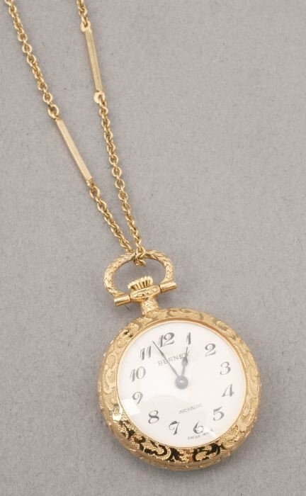 756: A LADY'S 14K YELLOW GOLD OPEN-FACED POCK