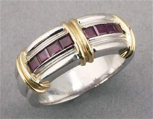 AN 18K YELLOW GOLD, WHITE GOLD AND RUBY