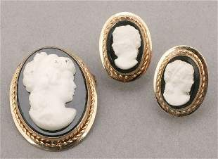 HIGH RELIEF CAMEO BROOCH AND EARRING SET