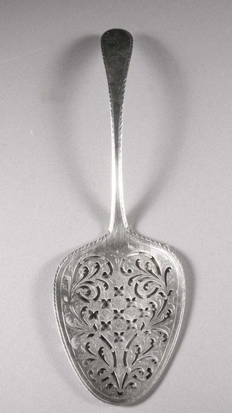 14: A GEORGE III IRISH SILVER FISH SLICE, By Darby Keho