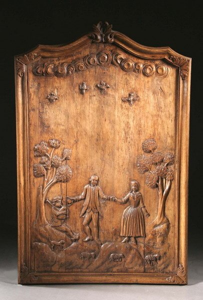 158: A COUNTRY FRENCH CARVED CHESTNUT BOISERIE PANEL, 1