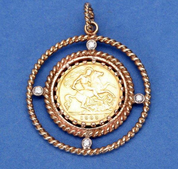 695: SOVEREIGN COIN PENDANT.
