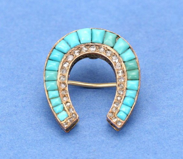 698: A VICTORIAN 14K YELLOW GOLD, TURQUOISE AND DIAMOND