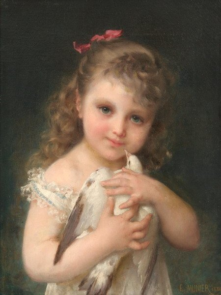 1229: EMILE MUNIER (French, 1810-1895). YOUNG GIRL HOLD