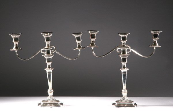 4: PAIR SHEFFIELD PLATE THREE LIGHT CANDELABRA, 20th ce
