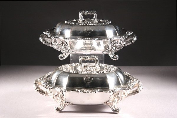 5: FINE PAIR SHEFFIELD PLATE COVERED CHAFING DISHES, by