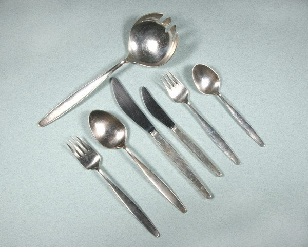 7: DANISH SILVER PARTIAL FLATWARE SERVICE. by Georg Jen