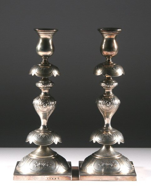 8: PAIR POLISH SILVER PLATE SABBATH CANDLESTICKS.