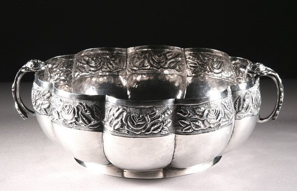 12: MEXICAN SILVER FRUIT BOWL, 20th century, by Ortega,