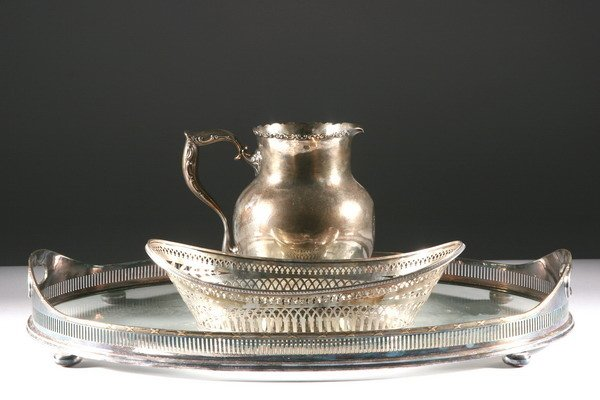 15: SILVER PLATE TRAY, BREAD BASKET AND A STERLING PITC