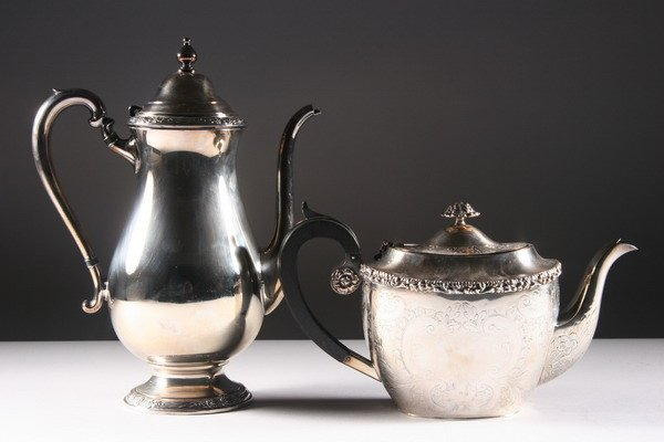 16: SILVER PLATED TEAPOT AND COFFEE POT. - 11 in.high.,