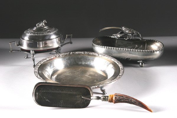 17: GROUP OF SILVER PLATE. - 11 1/4 in. diameter, the t