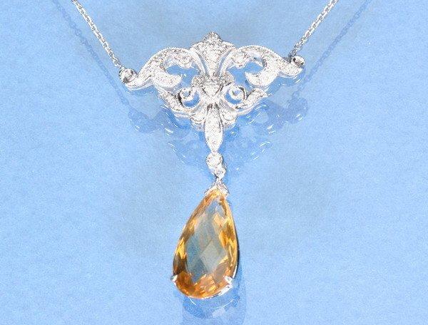 801: 18K WHITE GOLD, CITRINE AND DIAMOND PENDANT NECKLA