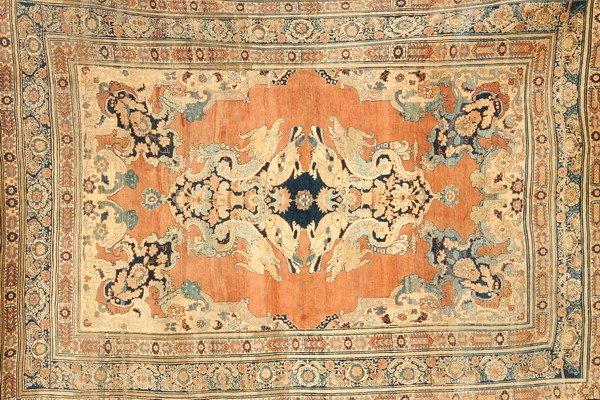 887: TURKISH SILK RUG WITH ELEPHANT MOTIFS, - App. 4 ft