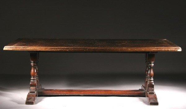 1193: ENGLISH OAK TRESTLE TABLE. 20th century. - 29 3/4