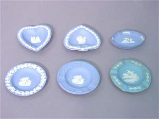 A Collection of Six Wedgewood Blue Jasp