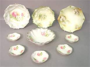 Four R.S. Prussia Floral Decorated Bowl