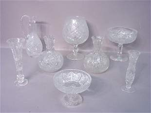 Seven Pieces Of Cut Glass in Assorted P