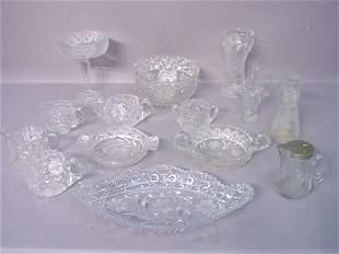 Fourteen Pieces of Cut Glass, Various P