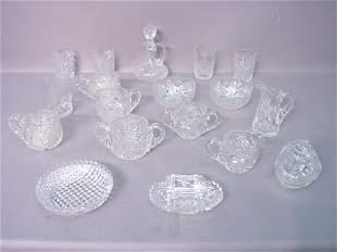 Eighteen Pieces of Cut Glass, Various P