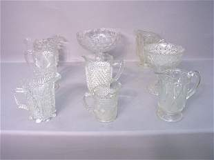 Nine Pieces of Pressed Glass Including