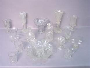 Fifteen Pieces of Pressed Glass in Vari