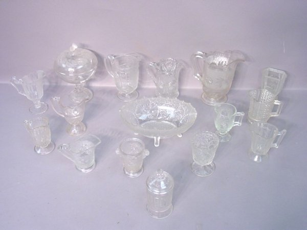 2023: Sixteen Pieces of Pressed Glass in Vari