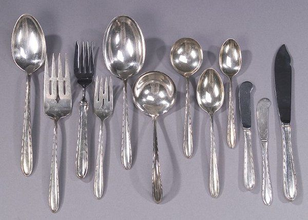 AN AMERICAN SILVER LUNCHEON SERVICE, early
