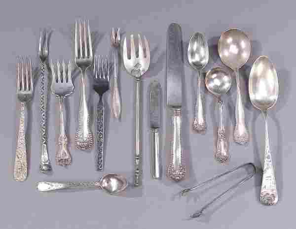 A COLLECTION OF SILVER FLATWARE. Including