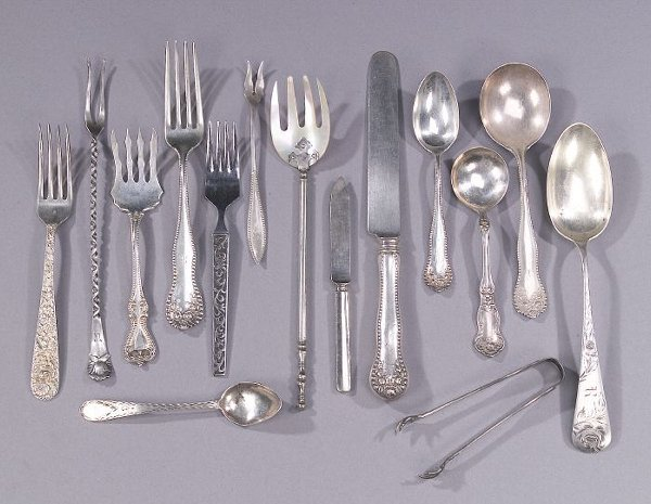 8: A COLLECTION OF SILVER FLATWARE. Including