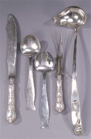 A COLLECTION OF FIVE SILVER SERVING PIECE