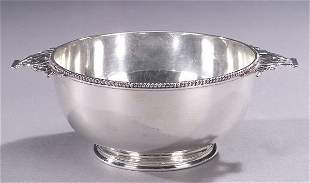 AN AMERICAN SILVER TWO-HANDLED BOWL, by T