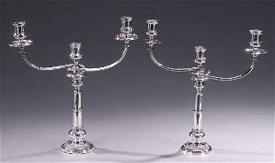 TWO SILVER PLATED THREE-LIGHT CANDELABRA,