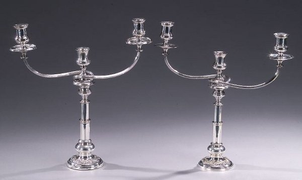 24: TWO SILVER PLATED THREE-LIGHT CANDELABRA,