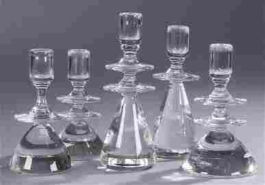359: A STEUBEN GLASS CANDLE CLUSTER, mid 20th