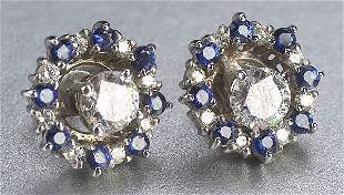 A PAIR OF 18K WHITE GOLD, SAPPHIRE AND D