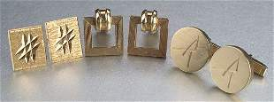 A COLLECTION OF YELLOW GOLD CUFFLINKS. V