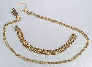 A COLLECTION OF YELLOW GOLD CHAINS. Incl