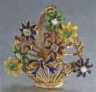 A 14K YELLOW GOLD, ENAMEL, EMERALD AND D