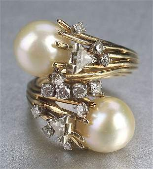 A YELLOW GOLD, CULTURED PEARL AND DIAMON