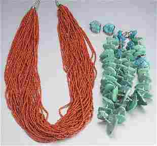 A GROUP OF CORAL AND TURQUOISE JEWELRY.